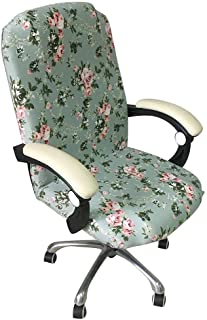 myonly Funda para silla de oficina separada, giratoria para silla de ordenador, funda protectora de escritorio, extraíble, elástica, estampado floral, elástica (sin silla).