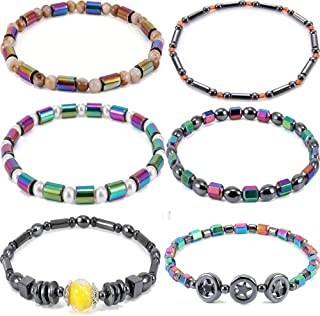 Yunanwa 6 Pack Set Men Women 8mm Lava Rock 7 Chakras Beads Bracelet Yoga Bangle Couple Lover Friendship