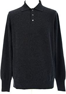 Men's Polo Cashmere Sweater with 3-Button