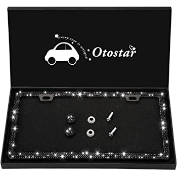 Red Otostar Bling License Plate Frame Handcrafted 7 Rows Shiny Rhinestones Stainless Steel 2 Holes License Plate Frame with Anti-Theft Screws Caps Set