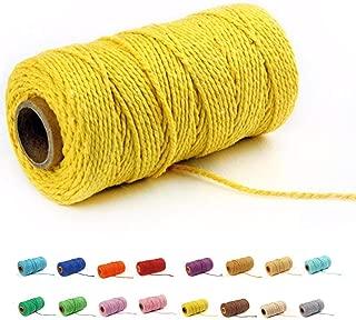 (100 Yards/2mm/19 Colors)100 DIY Craft Macramé Natural Cotton Rope Craft Making Knitting Cord Rope DIY Wedding Decor Supply (Yellow)