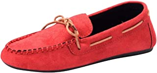 Women's Round-Toe Flat Lace-up Bowknot Moccasins (Color : Red, Size : 4 UK)