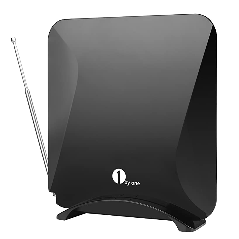 1byone Amplified Indoor HDTV Antenna for UHF/VHF/FM with Stand, 40 Miles Range with Detachable 20dB Amplifier USB Power Supply, 10 Feet High Performance Cable