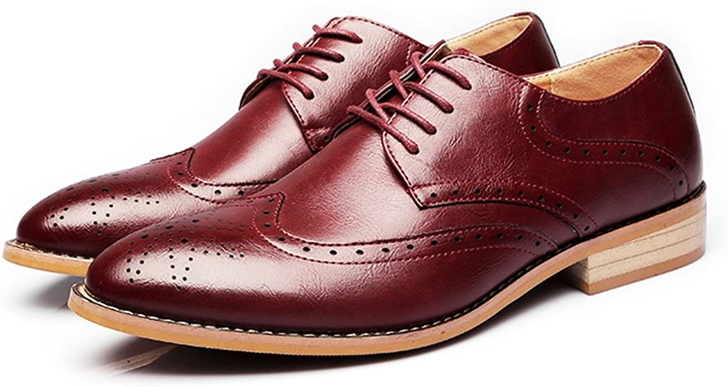 XHD-Men's shoes Fashion Men's Business shoes Matte Breathable Hollow Carving Genuine Leather Lace Up Lined Oxfords
