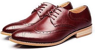 Men's Shoes-Men's Business Brogue Tuxedo Dress Shoes Matte Wingtip Hollow Carving Genuine Leather Lace Up Lined Oxfords Leisure (Color : Wine, Size : 41 EU)