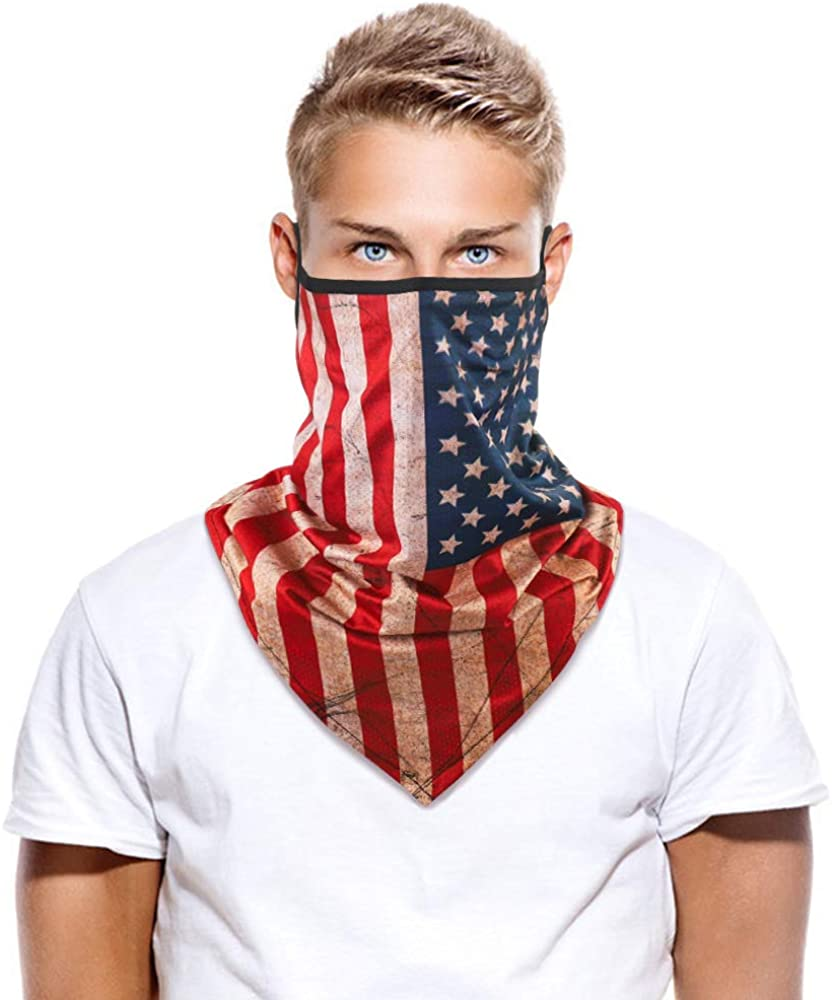 Neck Gaiter Face Scarf Cover Triangle Face Mask Bandana Balaclava Scarves Headbands Covering for Men Women with Ear Loops