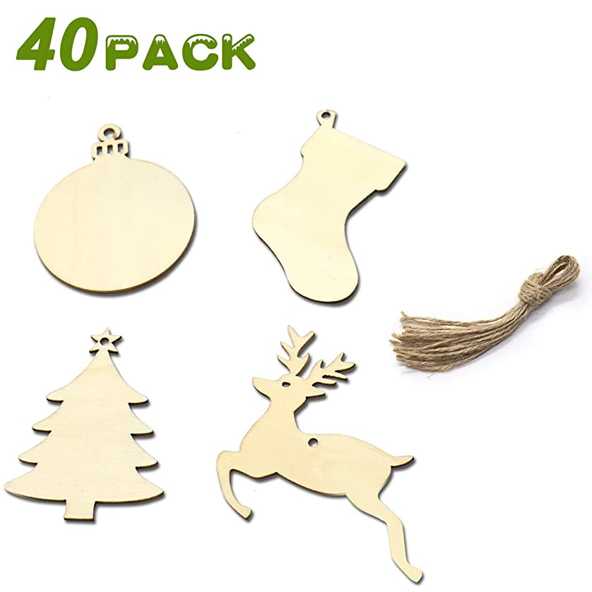 AQUEENLY Unfinished Wooden Christmas Ornaments Blank Wood Slices with Hemp Rope for DIY Crafting, 3.5 Inches, 4 Styles, 40 PCS ubhsjmujd