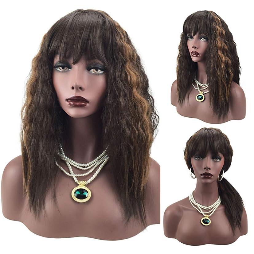 クリークリーガンいつも女性のブロンドのかつらライト前髪ナチュラルウェーブロングカーリーかつらコスプレパーティーリップルヘアー+ヘアーネット58 cm