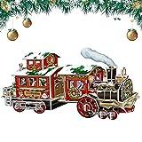 Tren de Navidad para Niños DIY Rompecabezas, Juguetes de Papel de Rompecabezas Tridimensionales Creativos en 3D, Tren de árboles de Navidad (Sin Compartimento para Pilas)