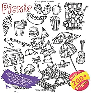 Ultimate Coloring Book Picnic, Food, Horse, Cars, Tiger, Zoo, Jungle, Fantastic Beasts, Mom, Pirate, Hair, Cat, Frog, Super Hero and others. Large ... (Coloring Book Picnic and others Doodle)