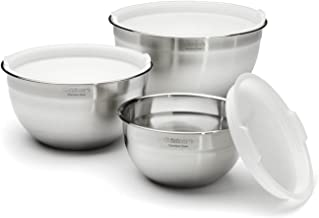 Cuisinart CTG-00-SMB Stainless Steel Mixing Bowls with Lids, Set of 3 Black