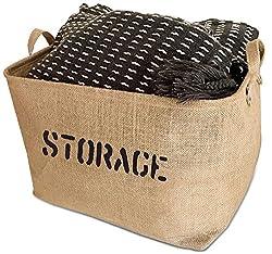 burlap storage basket with handles