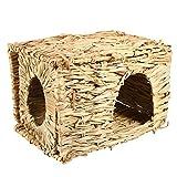 Piccolo animale domestico erba letto, gabbia per criceti hand-woven pieghevole erba piccoli animali letto criceto dormire giocare casa