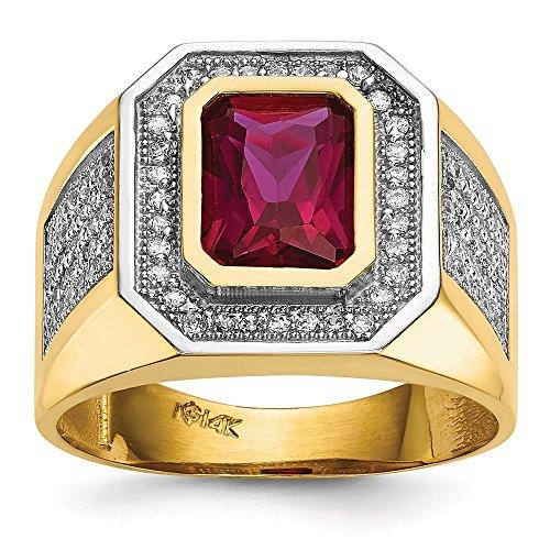 Diamond2Deal - Anello da uomo in oro giallo 14 kt con zirconia cubica e zirconia cubica rossa taglio smeraldo
