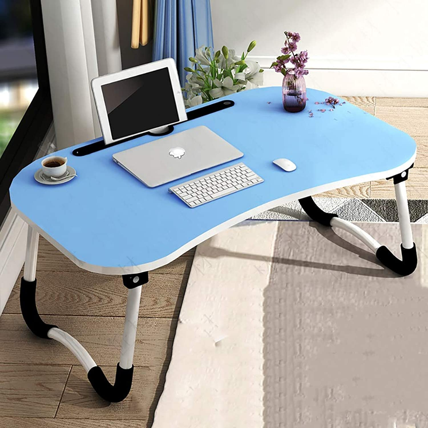 Laptop Table Bed with Foldable Lazy Student Dormitory Study Desk Small Table to do Table Bedroom (color   D)