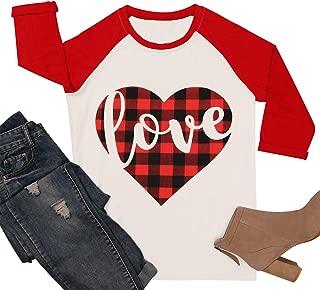 Valentine's Day Shirt Women 3/4 Sleeve Plaid Love Heart Printed O-Neck Raglan Baseball T-Shirt Tops