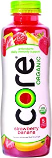 CORE Organic, Strawberry Banana, 18 Fl Oz (Pack of 12), Fruit Infused Beverage, Vegan/Gluten-Free, Non-GMO, Refreshing Flavored Water with Antioxidants, Great For Immunity Support