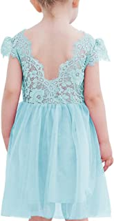 Ugitopi Vestido de Princesa de Tul sin Espalda de Encaje para Niñas