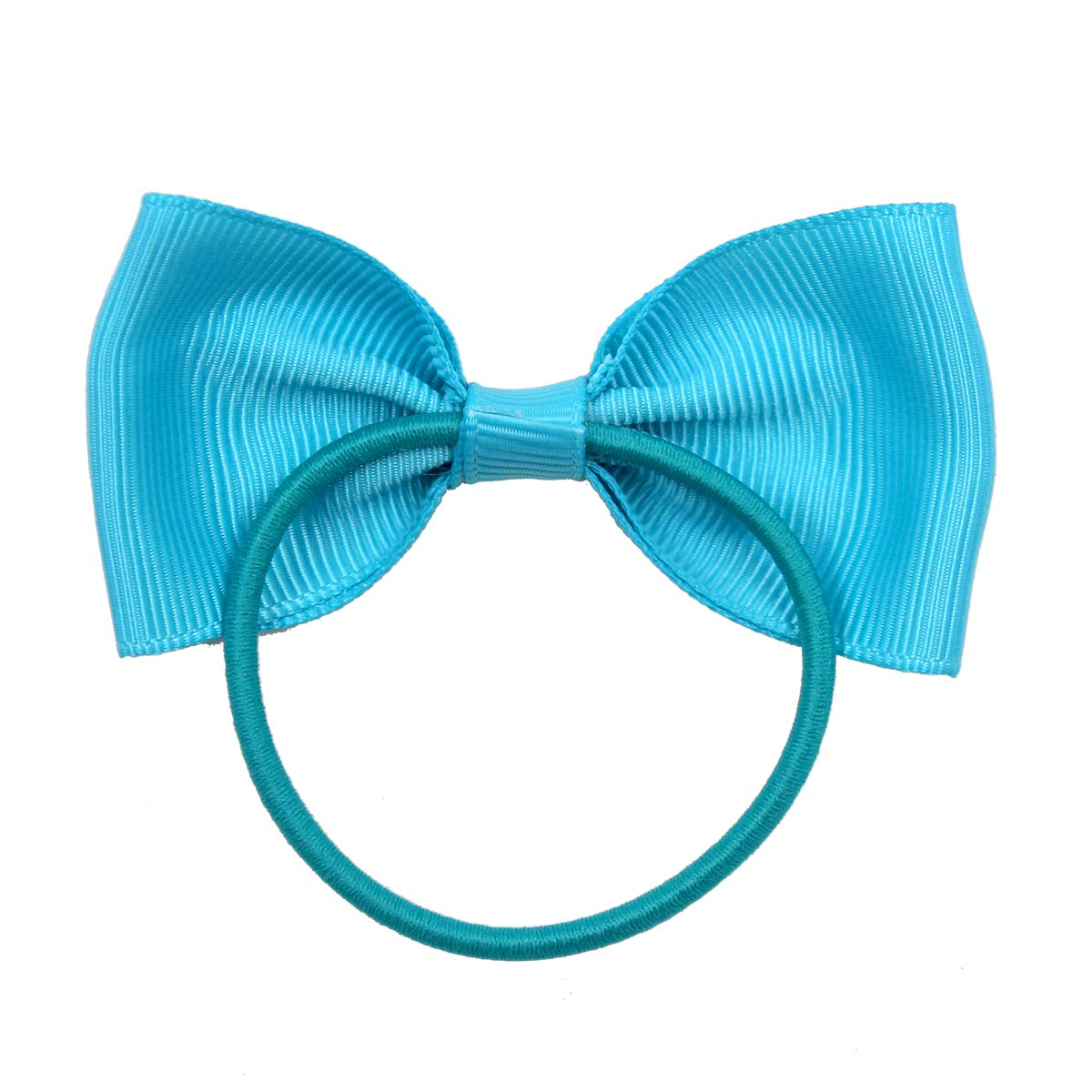 GIRLS HANDMADE BOUTIQUE HAIR BOW BOBBLES IN AQUA BLUE RIBBON SOLD IN PAIRS