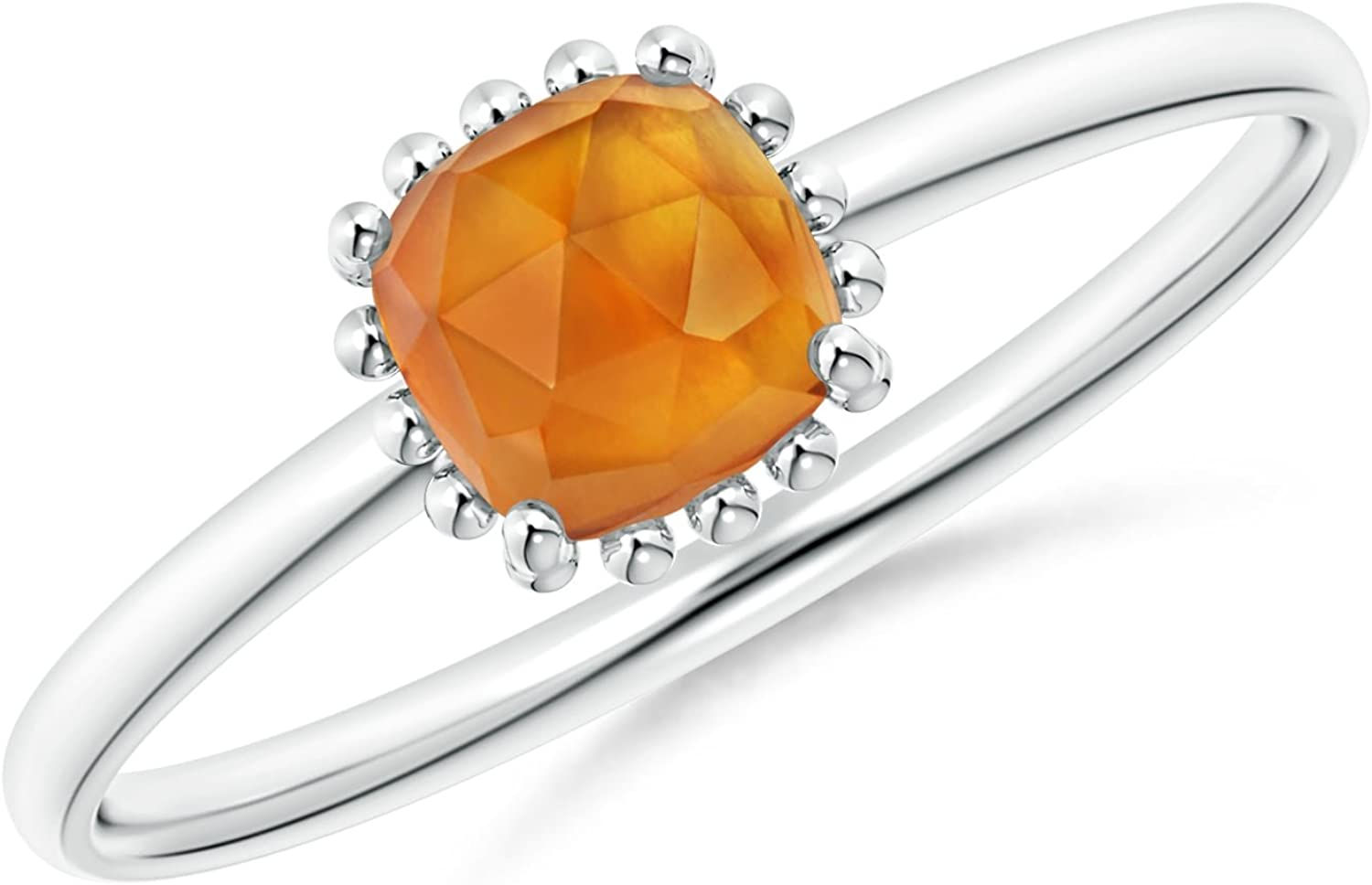 Classic Cushion Citrine Ring with Beaded Halo (5mm Citrine)