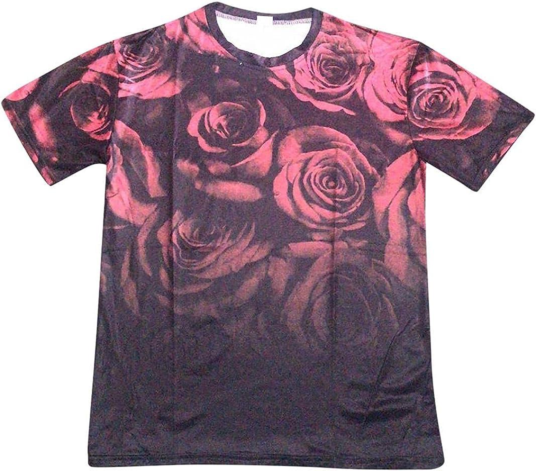 TTOOHHHJDD Mens Hipster Hip Hop Shirt Rose Floral Print Short Sleeve All Over Longline Curve Pattern Summer Tee
