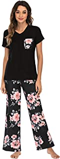 Famulily Womens Pajamas Set Short Sleeve Tops and Floral Print Wide Leg Pants with Pockets Comfy Pjs Sets Sleepwear