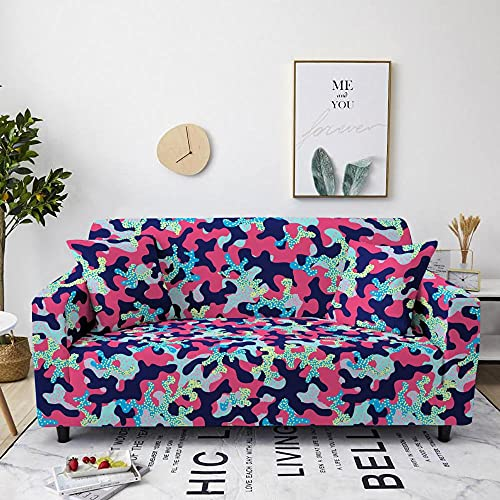 AHKGGM Funda de sofá Estampada Figuras geométricas Azul Oscuro y Rosa 2 plazas: 145-185cm
