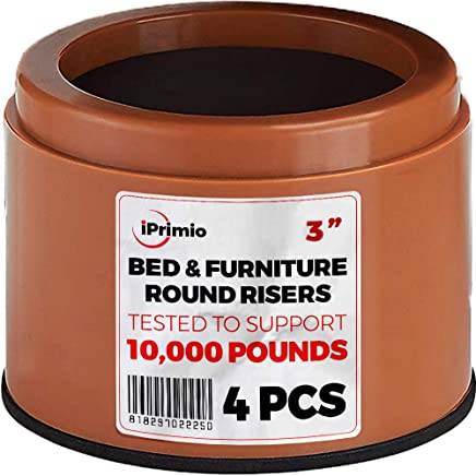 "iPrimio Bed and Furniture Risers – 4 Pack Round Elevator up to 3"" & Lifts Up to 10, 000 LBs - Protect Floors and Surfaces – Durable ABS Plastic and Anti Slip Foam Grip – Non Stackable – Brown"