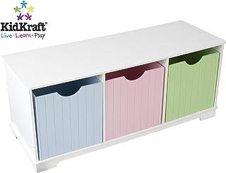 KidKraft 14565 Estantería infantil de madera Nantucket con 3 estantes, muebles para salas de juego y dormitorio de niños - Pastel
