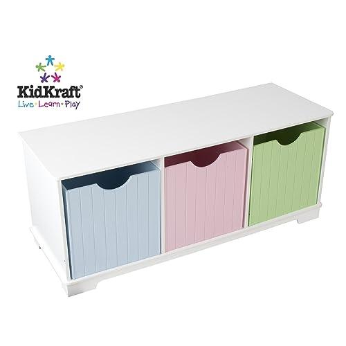 KidKraft 14565 Estantería infantil de madera Nantucket con 3 estantes, muebles para salas de juego