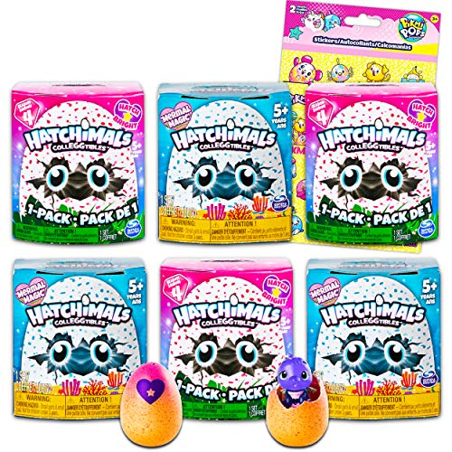 Hatchimals Blind Bag Mystery Pack Party Favors Bundle ~ 6 Pack Hatchimals Colleggtibles Figurines Toys for Girls with Stickers (Hatchimals Party Supplies)