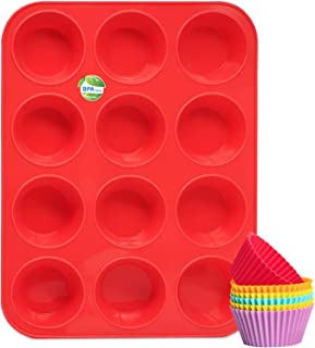 Silicone Muffin Pan, Katbite Non-stick Cupcake Pans 12 Cups, Food Grade Silicone Molds for baking, Reusable Muffin Tin for...