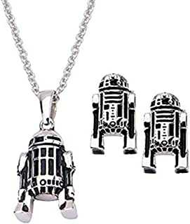 Women's 925 Sterling Silver Star Wars R2D2 3D Stud Earrings and Pendant with Chain Set