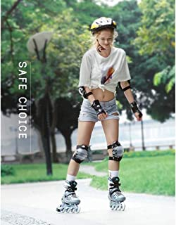Profession Adult and Kids Roller Skates,Outdoor Wear Resistant Anti-Impact Artistic Roller Skates for Boys and Girls,Adjustable,Silver,M