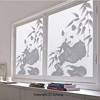 30x48 inch Decorative Window Privacy Film,Giant Panda Bear Sitting in Zoo Traditional Chinese Painting Monochrome Picture Frosted Stained Window Clings Static Cling for Home Bedroom Office