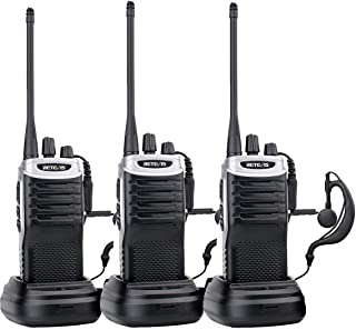 Retevis RT7 2 Way Radios Rechargeable Long Range 16 CH UHF FM Two Way Radio VOX Scan Walkie Talkies with Earpiece (Black Silver Side,3 Pack)