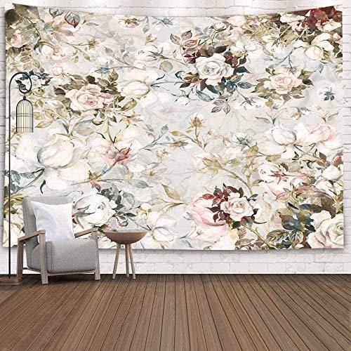 Yhjdcc Tapiz para el hogar por impreso para acuarela patrón ramo de rosas en brote para colgar en la pared, arte de pared beige verde 150 cm x 200 cm