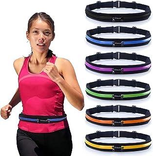Cinturón de correr delgado con 2 bolsillos extensibles – Riñonera resistente al sudor – bolsa de teléfono celular para senderismo, ciclismo, escalada, jogging y para smartphones de 6,5 pulgadas