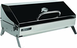 Camco Olympian 6500 Stainless Steel Portable Gas Grill Connects to Low Pressure Supply On RV, Includes RV Mounting Bracket and Folding Tabletop Legs - 316
