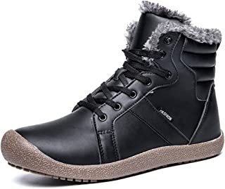 GOMNEAR Men Winter Snow Boots Fur Lined Outdoor Hiking Waterproof Ankle Warm High Top Shoes