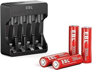 EBL AA batteri 4 stycken 1,5 V 3 000 mWh, uppladdningsbara batterier med batteriladdare mikro-USB-ingång, utgång vid 1,5 ...
