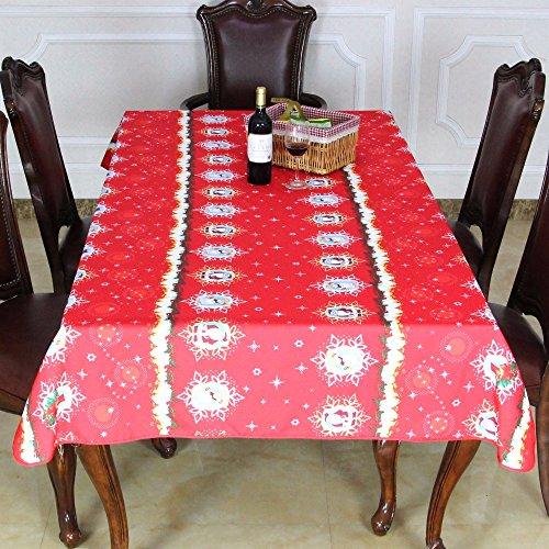 BLUELSS Table de Noël Joyeuse Nouvelle Nappe Imperméable Drap Housse de Table manteles mesa Para 145x180cm