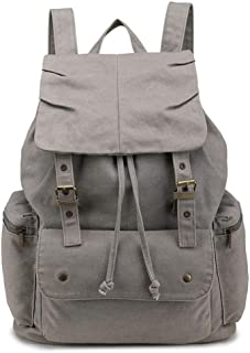 Outdoor Sports Canvas Backpack Bag Large-Capacity Fashion Multi-Function Leisure Travel Bag (Color : Gray, Size : S)