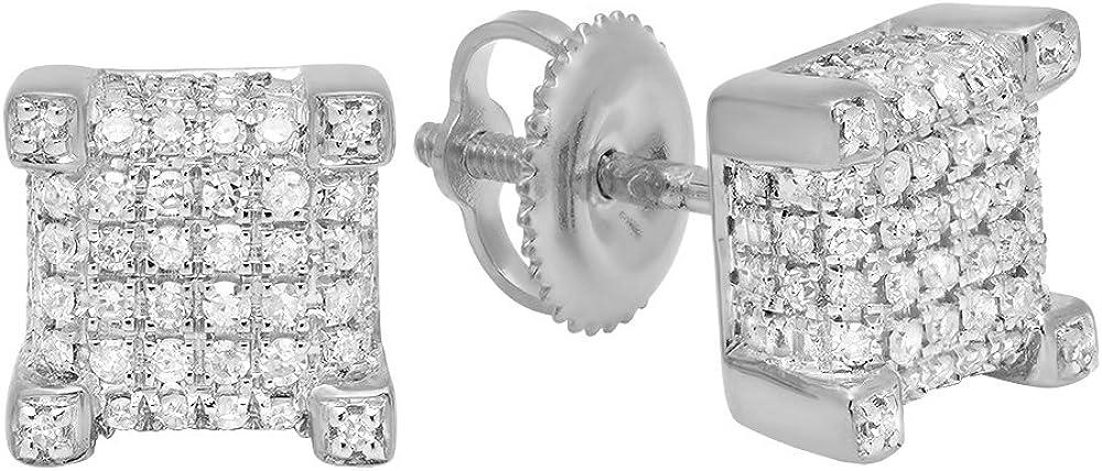Dazzlingrock Collection 0.25 Carat (ctw) 10K Gold Round Diamond Dice Shaped Hip Hop Mens Stud Earrings 1/4 CT