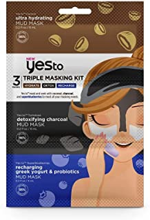 Yes To Triple Masking Kit, Coconut, Charcoal and Superblueberries - Single Use | All Skin Types | Multi-masking with Cocon...