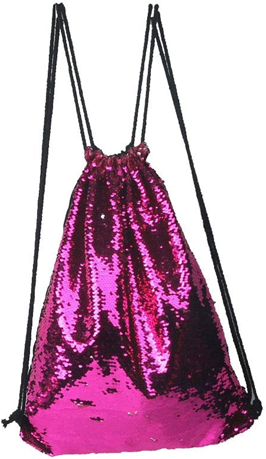 Wecoop Sequin Drawstring Sports Dancing Bag Backpack (color   Red, Size   45  35CM)