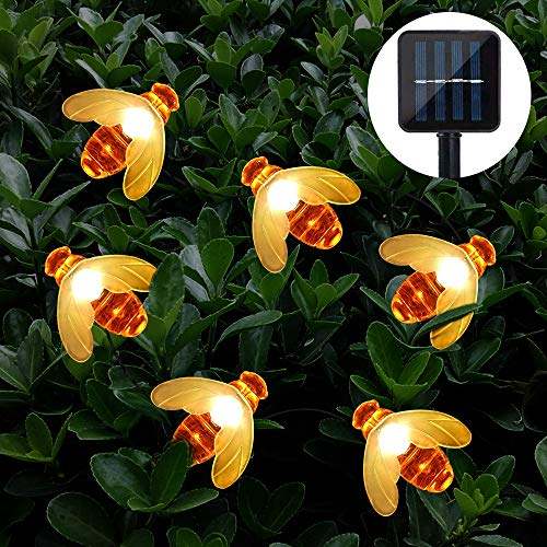 Solar Garden Lights, Cshare 50 LED Honeybee Fairy String Lights,8 Mode 7M/ 24Ft Waterproof Outdoor/Indoor Solar Powered Decorative Lighting for Home, Patio, Party, Christmas,Decoration (Warm White)