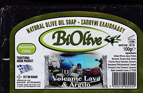 Griechisch natürliche Olivenölseife mit vulkanischer Lava & Argilo 100gr