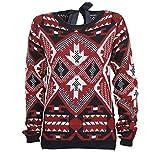Esmara - Jersey de manga larga para mujer, diseño azteca Rojo negro/rojo 40