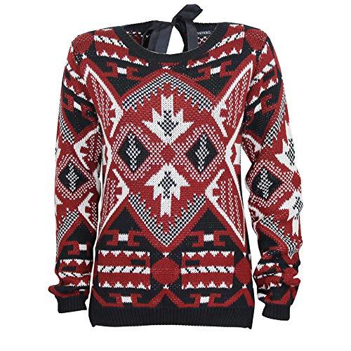 Esmara da donna EX Aztec modello maglione da uomo lavorato a maglia Black-red 44